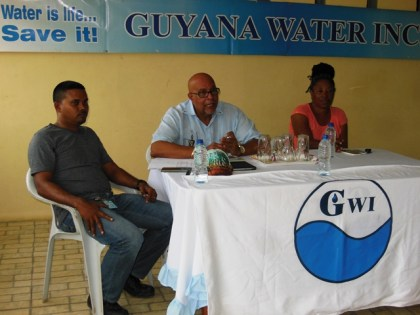 (From left to right) GWI's Executive Director of Project Implementation & Partnership Building, Mr. Ramchand Jailal; Managing Director of GWI, Dr. Richard Van West-Charles and Timehri North's Community Development Council Chairperson, Ms. Carmen Simon.