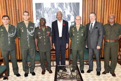 From left: Colonel Emerson DaSilva, Colonel Oswaldo DaSilva, Chief of Staff of the Guyana Defence Force, Brigadier George Lewis, President David Granger, Military Commander of the North of the Brazilian Armed Forces, General Carlos Alberto Neiva Barcellos, Brazilian Ambassador to Guyana, Mr. Lineu Pupo De Paula and Major Meer Khan of the GDF.