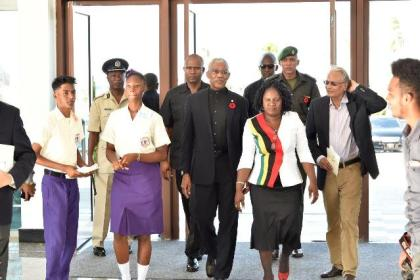 President David Granger arriving at the Arthur Chung Convention Centre (ACCC), earlier this evening, for the 26th Graduation Exercise of the President's College.