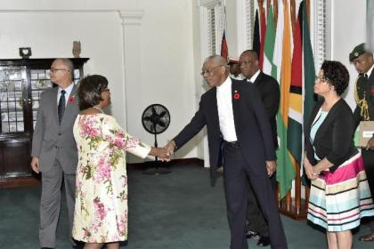 High Commissioner of the Republic of South Africa, Her Excellency Xoliswa Nomathamsanqa Ngwevela greets President David Granger before presenting her Letters of Credence