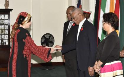 Dr. Linda Sobeh-Ali presenting her Letters of Credence to President David Granger, which accredits her as the Non-resident Ambassador of the State of Palestine to Guyana.