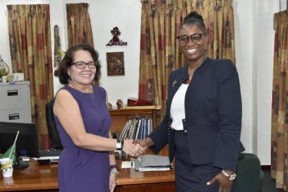 Mrs. Sandra Granger, First Lady of Guyana and Mrs. Natasha Clarke- Solomon, founder of The El Dorado Foundation Incorporated.