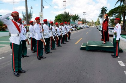 Newly accredited non-resident Ambassador to Guyana from the State of Palestine, Dr. Linda Sobeh-Ali, takes the salute from the ranks of the Guyana Defence Force (GDF), upon her arrival at the Independence Arch, earlier today.
