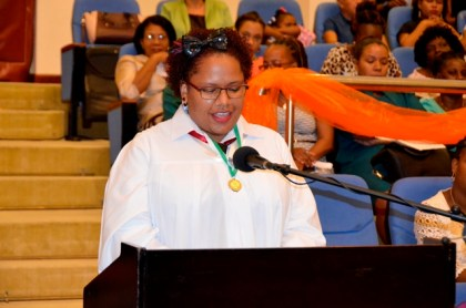 Ms. Gizzelle Lopes, Valedictorian and Best Graduating Student in Catering and Hospitality tells graduates to celebrate their achievements and aim to better themselves as she delivered the charge at the Carnegie School of Home Economics' Craft Production and Design Division graduation ceremony