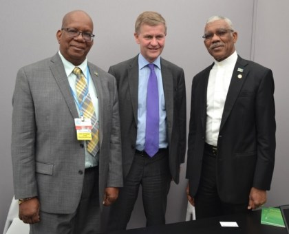 From left- Minister of Finance, Honorable Winston Jordan, Mr. Erik Solheim, Under Secretary- General of the United Nations and Executive Director of the United Nations Environment Programme (UNEP) and President of Guyana, His Excellency, David Granger.