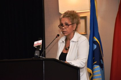 Inter -American Development Bank's Country representative, Sophie Makonnen at the presentation of the final results of the Guyana –Brazil market study for the land transport link and deep water port project