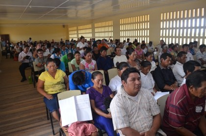 A section of the residents of Sand Creek and neighbouring communities in Region Nine at the meeting with Minister within the Ministry of Communities, Dawn Hastings-Williams