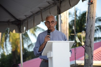 Minister of Communities, Ronald Bulkan addressing the opening of the Indaba 4 at Victoria, East Coast Demerara