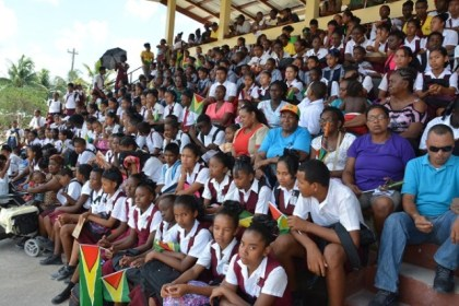 Students looking on during the bicycle distribution exercise in Kwakwani, Upper Demerara-Berbice (Region 10).