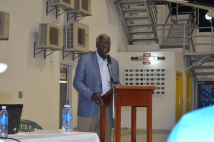 Guyana Civil Aviation Authority's  Director-General, Col. (Rt'd) Egbert Fields delivering remarks at the consultation on Performance Based Navigation (PBN) and Automatic Dependent Surveillance-Broadcast (ADS-B) Implementation at the Eugene F. Correia International Airport