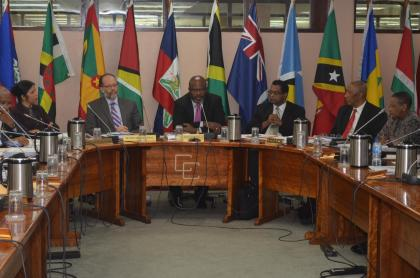 Minister of Public Security, Khemraj Ramjattan (third from right), Chairman of the Council for National Security and Law Enforcement, Attorney-General and Minister of Home Affairs,  Barbados, Adriel Brathwaite (center); Secretary General to CARICOM, Irwin LaRocque (third from left) along with other members of CARICOM at the 17th meeting of the Council for National Security and Law Enforcement