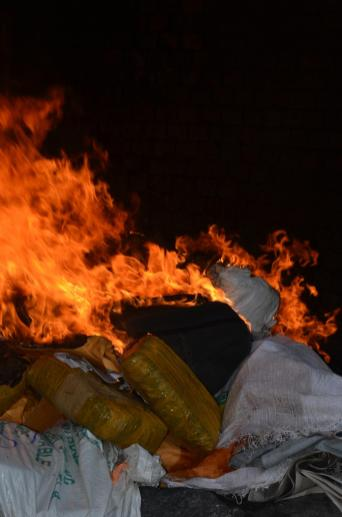 The seized marijuana being burnt in the incinerator on Princes Street