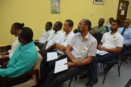 Some of the attendees at the meeting. Mr. Reuben Robertson, Food and Agriculture Organisation Representative to Guyana is pictured first, left