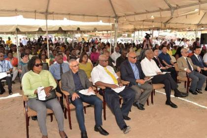 From left: Minister within the Ministry of Public Infrastructure, Ms. Annette Ferguson, Minister of Business, Mr. Dominic Gaskin, Chairman of the Bauxite Century Planning committee, Mr. Horace James, Minister of Natural Resources, Mr. Raphael Trotman and President David Granger