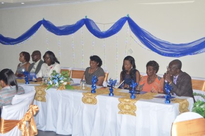 Health Officials including  Minister within the Ministry of Public Health, Dr Karen Cummings at the graduation of the  University of Guyana's Bachelor of Science Nursing Degree students