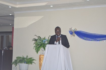 Valedictorian of the Nursing Programme, Garfield Bryan delivering remarks