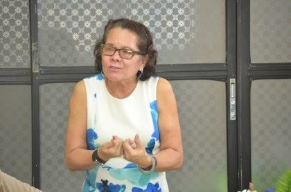 First Lady, Mrs. Sandra Granger gestures as she makes a point at the launch of the 11th Self Reliance and Success in Business Workshop for women, today, in Upper Demerara-Berbice (Region 10).