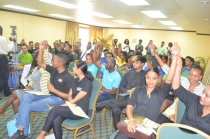 Waiters and waitresses of hotels and restaurants in Georgetown who took part in the Guyana Tourism Authority's Customer Service Training