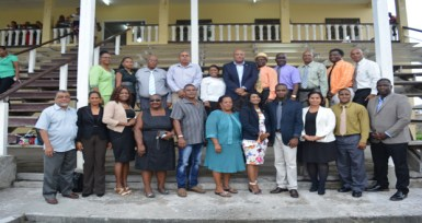 Minister of Natural Resources Raphael Trotman with the first councillors of the Bartica municipality in Region Seven