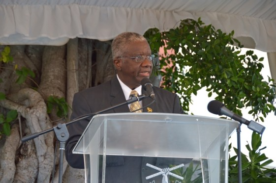 Prime Minister of Barbados, Hon. Freundel Stuart, during his speech, just before he toasted to the past, present and future of Barbados