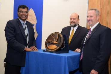 L-R: Minister of Public Security, Khemraj Ramjattan, US Ambassador Perry Holloway and Regional Director, D.E.A, Matthew Donahue at the opening of the DEA office in Guyana