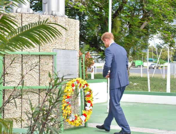 Prince Harry lays a wreath at the Independent Arch at Brickdam. The Independence Arch can be described as one of the nation's most important national symbols. It was presented to Guyana, by the Demerara Bauxite Company (DEMBA) as an Independence gift, in 1966 to symbolise the end of an era, while ushering in a new phase of Guyana's history. In May, 2016, newly sworn in President, David Granger initiated the restoration of the Independence Arch, which has now become an attractive feature on upper Brickdam, equipped with lights.