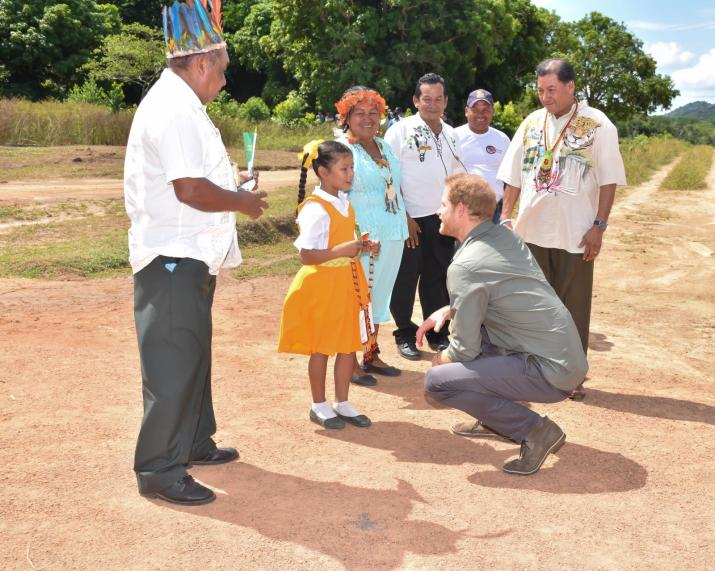 Prince Harry is about to be garlanded by a child of Surama village. Also in the photo are Minister of Indigenous Peoples' Affairs, Sydney Allicock, Toshao and Deputy Toshaos and village councilors of Surama.