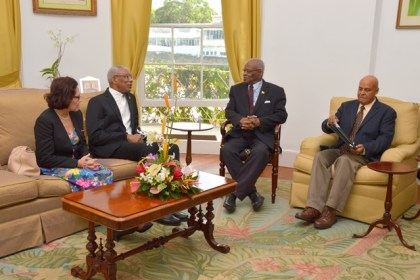 From L-R:  First Lady, Mrs. Sandra Granger, President David Granger, Sir Elliott Belgrave and an official from the Barbados Foreign Affairs Ministry, today, at Government House Barbados