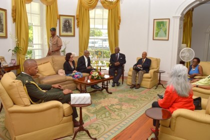 President David Granger and First Lady, Mrs. Sandra Granger share a light moment with Governor-General of Barbados, Sir Elliott Belgrave (centre) during a meeting at Government House, Barbados. Guyana's Consul General to Barbados, Ms. Cita Pilgrim (first, right) also attended the meeting.