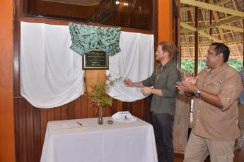 Prince Harry unveils a plaque in his honour at Surama
