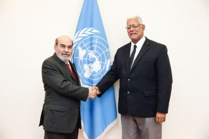 FAO Director-General Jose' Graziano da SIlva meeting with T.H. Noel Holder, Minister for Agriculture of the Republic of Guyana, FAO headquarters.
