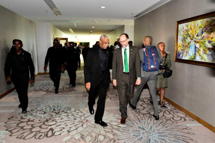 President David Granger and Chairman of the Caribbean Community (CARICOM), arriving at the Marriott Hotel Guyana this morning for the opening of the Twenty-Eighth Inter-Sessional Meeting of the Conference of Heads of Government of the Caribbean Community. He is pictured here with Secretary General of CARICOM, Ambassador Irwin LaRocque.