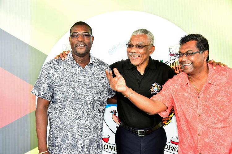President David Granger shares a light moment with Minister of Public Infrastructure, Mr. David Patterson and Minister of Public Security, Mr. Khemraj Ramjattan at D'Urban Park
