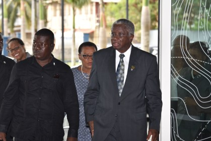 Prime Minister of Barbados, Freundel Stuart arriving for the opening session of the Twenty-Eighth Inter-Sessional Meeting of the Conference of CARICOM Heads of Government at the Marriott Hotel in Georgetown