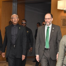 President of Guyana, David Granger and CARICOM Secretary-General Ambassador Irwin La Rocque arriving for the opening session of the Twenty-Eighth Inter-Sessional Meeting of the Conference of CARICOM Heads of Government at the Marriott Hotel in Georgetown