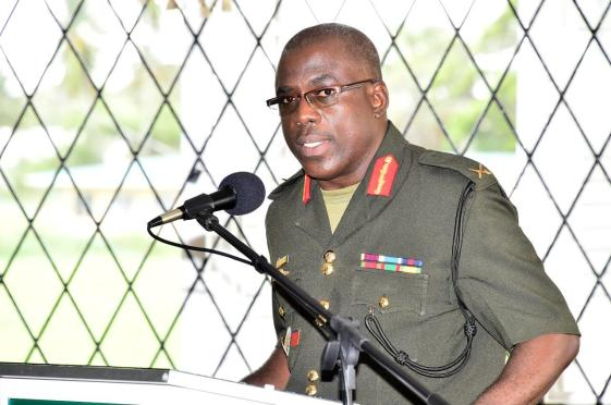 Chief of Staff of the Guyana Defence Force, Brigadier Patrick West delivering his presentation on 'Total National Defence'
