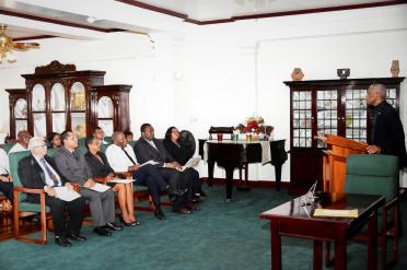 President David Granger delivering remarks at the swearing-in ceremony
