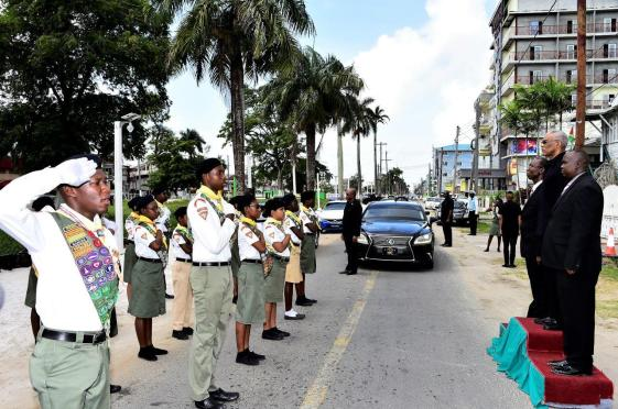 President David Granger receiving the 'Guard of Honour' salute mounted by the Pathfinders upon his arrival at the Central Seventh-day Adventist Church at Church and Oronoque Streets