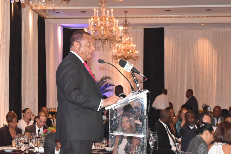 Prime Minister Perry Christie delivering remarks