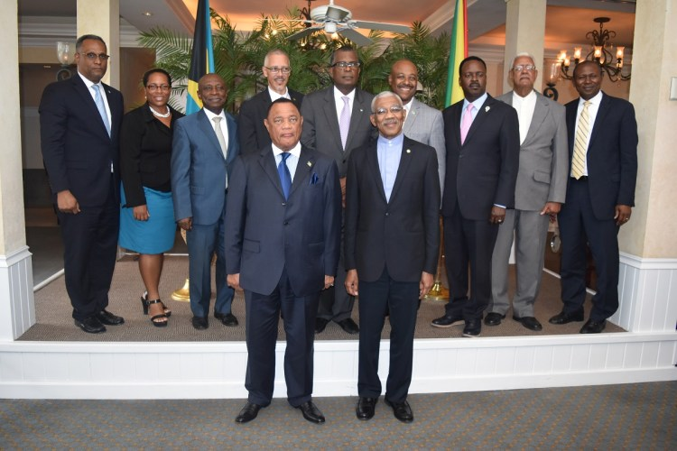 President David Granger and Prime Minister of the Bahamas, the Right Honorable Perry Christie with Ministers and other officials of the Guyana and Bahamian Governments