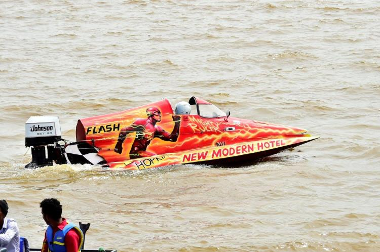 A need for speed! Competitor boats get ready for the Regatta