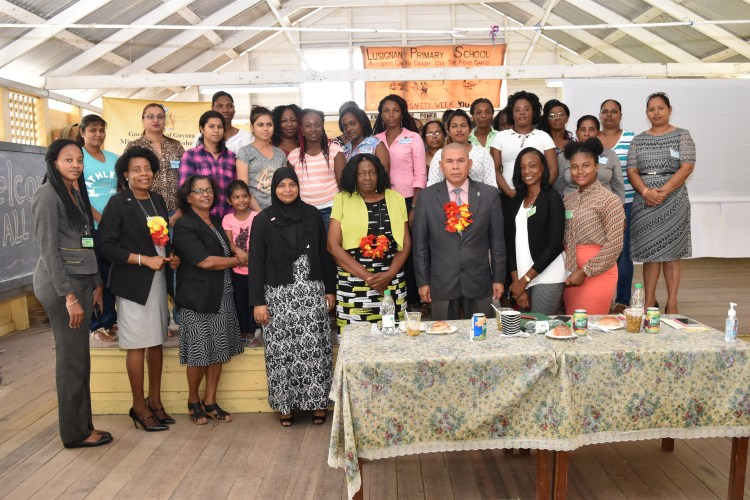 Minister of Social Cohesion, Dr. George Norton (third, from right) and the participants in the 29th Diversity Education and Inclusion Regional Training workshop, held at the Lusignan Primary School