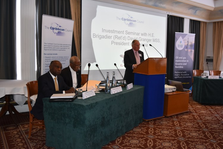Member of Parliament, the Rt. Hon. Lord Bruce of Bennachie chairing the discussion at the Investment Seminar on Guyana, which was facilitated by the Caribbean Council. President David Granger lead the discussion, which the Minister of Foreign Affairs, Mr. Carl Greenidge also participated in