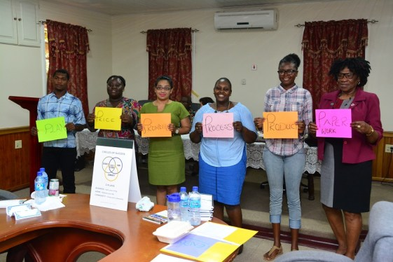 Participants of the workshop, including Ms. Yvonne Smith (r) each identified the 'Six P's of Business during the opening ceremony