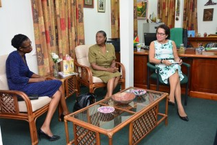 First Lady, Mrs. Sandra Granger during discussions with Ms. Abbigale Loncke and Ms. Jacquelyn Shipe