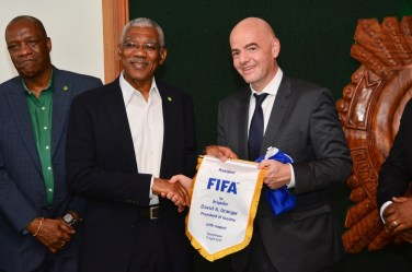 From a President to a President! The FIFA Head also presented President Granger with a special token of appreciation