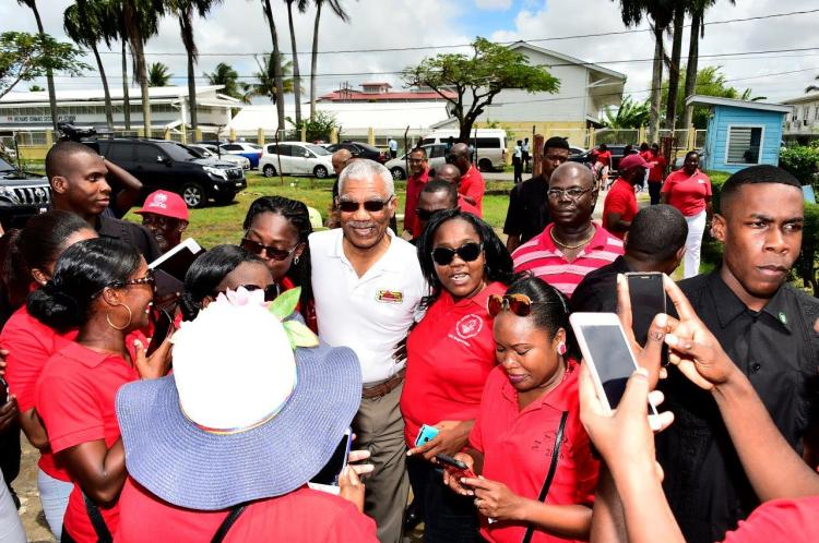 President David Granger was warmly received by members of the Guyana Teachers' Union (GTU)