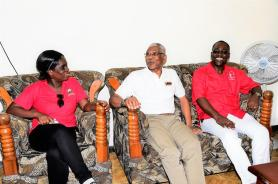 President David Granger shares a light moment with President of the GTU, Mr. Mark Lyte and Vice-President, Ms. Lesmeine Collins