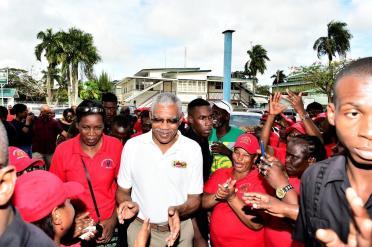 President David Granger was welcomed with loud applause at the GPSU's headquarters