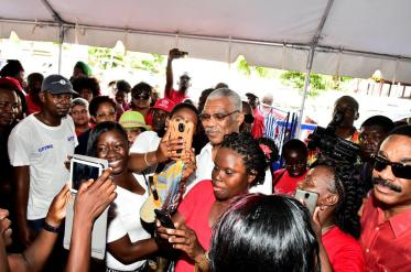 """Over at the GPTWU everyone tried to get """"selfies"""" with the Head of State which he happily posed for"""